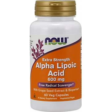 NOW FOODS Alpha Lipoic Acid with Grape Seed Extract & Bioperine 600mg - 60vcaps