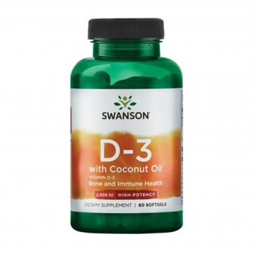Swanson  D3 with Coconut Oil 60 softgels