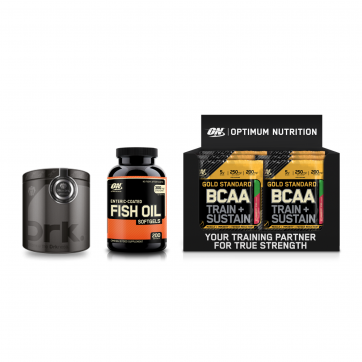 OPTIMUM NUTRITION Gold Standard Bcaa Train + Sustain 24x19gr + Enteric Coated Fish Oil 100 softgels + ΔΩΡΟ DRK Pre-Workout 300gr