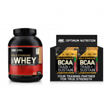 OPTIMUM NUTRITION Gold Standard 100% Whey 2270gr + Bcaa Train & Sustain 24x19gr (strawberry kiwi)