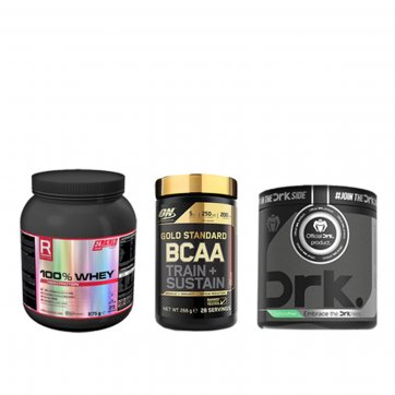 OPTIMUM NUTRITION Gold Standard BCAA Peach & Passion Fruit 266gr + 100% Whey 875g + ΔΩΡΟ DRK Pre workout 375g